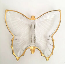 Butterfly Trinket Dish Glass Clear Gold Edge