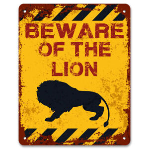 Beware Of The Lion | Vintage Metal Garden Warning Sign | Funny Caution Sign