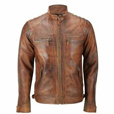Mens Fitted Tan Brown Real Leather Biker Jacket Zipped Vintage Smart Casual Coat