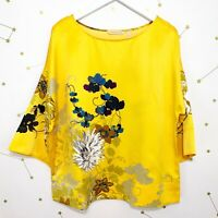 Soft Surroundings Tunic Top Size Small S Yellow Floral Tahitian Satin Oversized