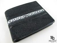 PELGIO Real Genuine Row Stingray Skin Leather ID Credit Card Bifold Wallet Black
