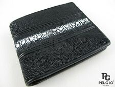 PELGIO Real Genuine Row Stingray Skin Leather Men Bifold ID Wallet Black