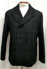 Theory Mens Wool Cashmere Poly Plaid Peacoat Double Breasted Black XL L