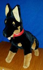 "Vintage PLUSH Stuffed 16"" Sitting DOBERMAN Barking Growling Shaking Guard Dog"