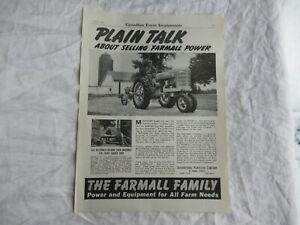 1941 McCormick Deering Farmall tractor print ad poster