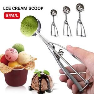3pcs/set Stainless Steel Handle Ice Cream Scoop Spoon Spring Masher Cookie Scoop