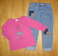 HANNA ANDERSSON PINK FLOWER TOP CROPPED PATCH JEANS GIRLS 150 FALL WINTER