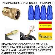 ADAPTADOR-CONVERSOR FINA A GRUESA + 4 TAPONES VALVULA ALUMINIO COLOR AZUL