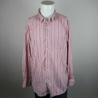 Tommy Bahama Button Up Shirt Mens Sz XL Pink Blue Long Sleeve Stripes Casual