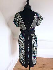 WAREHOUSE Black/White Geometric Print Kimono Style Dress. 100% Silk. Sz 12. VGC