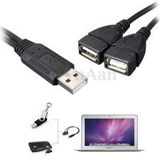 Short USB 2.0 A Male to 2 Double Dual USB Female Jack Y Splitter Cable HUB Cord