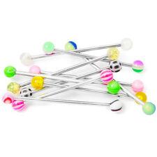 "10 Industrial Piercing Barbells  Colorful Acrylic Balls  14ga 1.5"" -38mm"