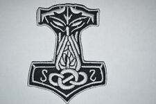 #079 Mjolnir Viking Thor Hammer Loki Odin Skins Iron On Embroidered Patch