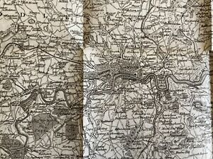 ANTIQUE 1808  MAP COUNTRY SURROUNDING LONDON TO EXTENT OF 30 MILES J RUFSELL