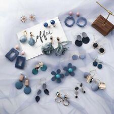 Women Dangle Drop Ear Studs Earrings Jewelry Blue Elegant Fashion Korean Style