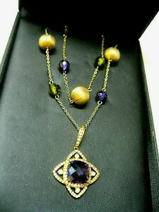 VINTAGE STERLING BLING NECKLACE LANCIANI TRAVEL JEWELRY OF NY NOS~GORGEOUS