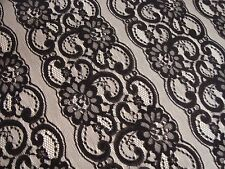 "NEW ONE PANEL LACE CROCHET CURTAIN BLACK ROSES STRIPE 50"" x 63"" lg"