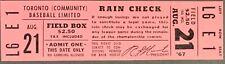 1967 International League Baseball Ticket Toronto Maple Leafs Last Season