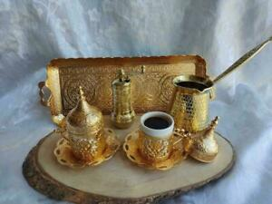 Copper Turkish Coffee Set Espresso Cups Coffee Pot, Coffee Grinder Heavy Gold