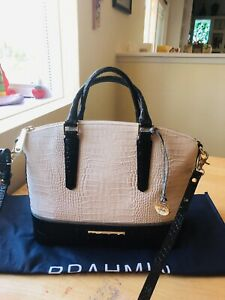 Brahmin Medium Duxbury Ivory Black Gray Croc Embossed Leather Satchel Purse