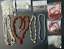 Lot of 10 Pearl Style Beaded Necklaces Festive - Various Size