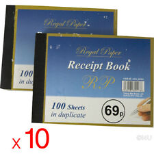10 X DUPLICATE RECEIPT NOTE BOOK NUMBERED 100 SHEETS CARBON PAPER BOOKS