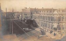 D37/ Lemars Iowa Ia Real Photo RPPC Postcard c1910 6th Street Bank Hotel Stores
