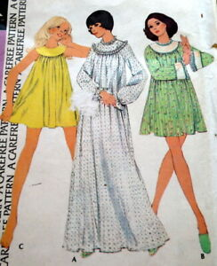 LOVELY VTG 1970s NIGHTGOWNS McCALLS Sewing Pattern BUST 34-36