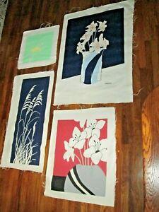 4 Piece Set Large Marushka Original Screen Art Prints Canvas Unframed MCM Flower