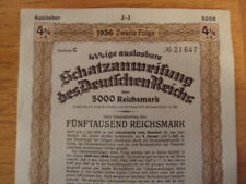 1936 Nazi German Treasury Bond-5000 Reichsmark Bond-Swastika Seal