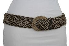 Cute Women Beige Brown Fabric Braided Fashion Belt Hip Waist Casual Day Ware S M