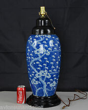 Huge Antique Chinese Porcelain Prunus and Cracked Ice Vase Lamp Qing Dynasty