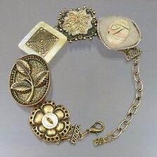 Elements by Jill Schwartz Assemblage Jewelry Bracelet Buttons MOP Initial T