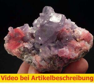 7705 Rhodochrosite Fluorite Pyrite  ca 6*9*4 cm Wuton Mine China 2009  MOVIE