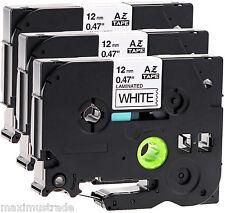 3 kompatible Schriftbandkassette für Brother P-Touch E110 12mm schwarz auf weiß