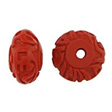 Mala Om Mani Padme Hum Mantra Carved Red Cinnabar 12x7mm Saucer Beads 3pc