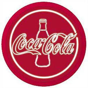 """Red Classic COKE COCA COLA Bottle Sign Beer Neon Party Bar Light Lite 18"""" Round"""