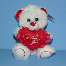 "Valentine 8"" Stuffed Animal Plush Teddy Bear I LOVE YOU Red Heart Doll Toy NWT"