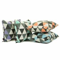 New Triangle Geometric Pattern Printed Chenille Handmade Cushion Cover & Filling