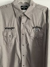 Wrangler Jack Daniels Shirt Top Pearl Snaprodeo Western Cotton Whiskey Gray Xl
