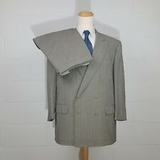 46R Ermenegildo Zegna Double Breasted Gray Stripe 46 R Suit 36W Neiman Marcus