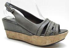 Crown Vintage Grey Leather Slingback Platform Wedges Sandals Heels Pumps 7.5