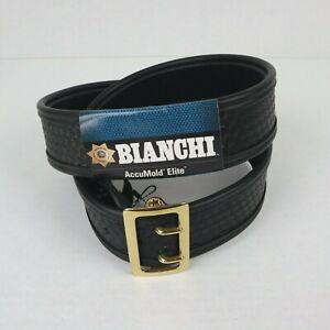 Bianchi AccuMold Elite Belt 7960 Sam Browne Sz. 44 Black Basket Weave Brass New