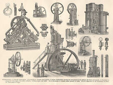 1892 Steampunk Print Steam Engines Cylinder Fly-wheel Supports Boiler Manometers