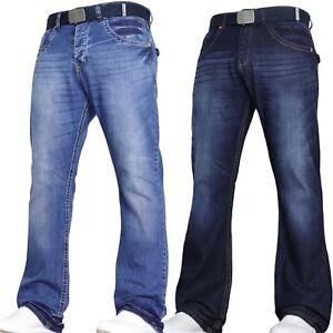 Mens Bootcut Flared Jeans Stretch Wide Leg Pants Designer All Sizes VON DENIM