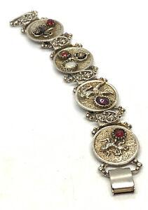 "Vintage Rhinestone Gold Tone Panel Story Articlated Warrior Bracelet 7"""