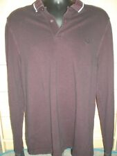 """burgandy fred perry long sleeve polo  top XL , pit 2 pit 21"""", overall length 29"""""""