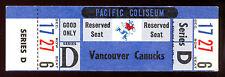 1969 WHA HOCKEY FULL TICKET STUB NM VANCOUVER CANUCKS George Gardner A Bathgate