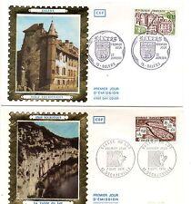LOT 2 ENVELOPPES PREMIER JOUR FDC CEF 1974 SERIE TOURISTIQUE SALERS DECAZEVILLE