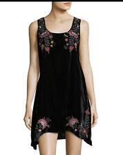 "Johnny Was - NWT  ""Emilia"" Velvet Embroidered Dress - Size S Black"